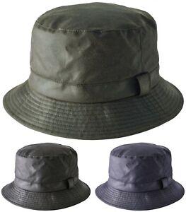 Mens or Womens Waxed Bucket Hats Showerproof Wax Bush Hat Lined Sun Cap