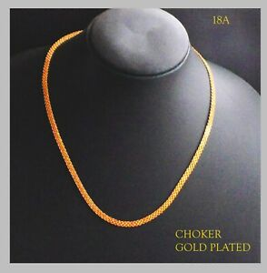 22k Indian gold plated chain necklace choker chains kapa JEWELRY  16 inches