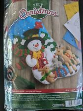 NIP Bucilla FOREST FRIENDS Stocking Sequined Beaded Felt Embroidery Kit #86657