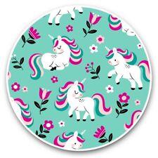 2 x Vinyl Stickers 25cm - Mint Green Unicorn Pattern Girls  #45743