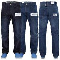 Enzo Mens Regular Fit Jeans Straight Leg Quality Denim Pants Western Style