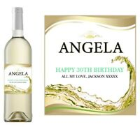 PERSONALISED WHITE WINE PROSECCO BOTTLE LABEL BIRTHDAY ANY OCCASION DETAILS WH1