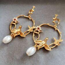 Pearl Bird Earrings Vintage screw back clip on Women Dangle Ear Stud Drop bronze