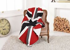 UNION JACK Heavyweight Wool THROW / Blanket - British Flag Red White Blue