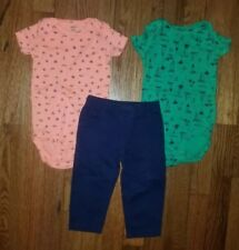 Boys Carter's 3 Piece Outfit Set 2 Short Sleeve One Pieces 1 Pants Size 12 Month