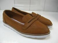 NEXT Hardly worn Ladies brown tan leather look SHOES loafers UK 5 38  slips ons