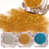 3 Boxen Holographic Nail Powder Nagel Kunst Puder Glitter Chrome Pigment Kits