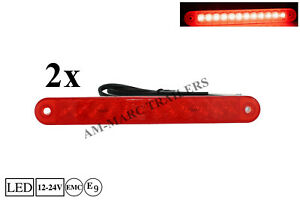2 x 12-24V Led Red Rear Tail Side Marker Lights Lamp Truck Lorrry Set Pair