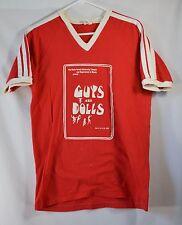 """Vtg 40"""" Chest Ringer T-Shirt Wake Forest Theatre Music Guys & Dolls 1983 80s Red"""