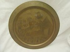 Vintage Egyptian Brass Tray Pyramids Sphynx Horse Chariot