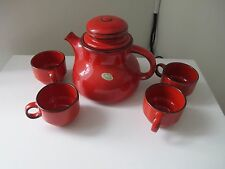 Majolica Tea Pot and cups made in Yugoslavia Bright Red Pottery