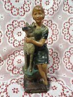 30cm=art déco=ancien  platre vernissé couleur=== la dame et le chien