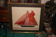 Vintage Nautical Lithograph Print-Sailing Yacht Mohawk-1876-Mid Century Modern