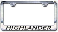 New Chrome Toyota Highlander License Plate Frame with Engraved Block Lettering