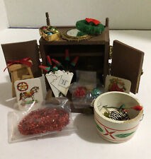 Hand Crafted Xmas Deco Chest, 11 Items dollhouse Chrismas Miniatures