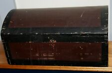 ANTIQUE PRIMITIVE Small Wooden Trunk OLD RED PAINT New England Find!
