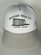 Vtg 1980s Rexford Kansas Grain Elevators Farm Seed Advertising Snapback Hat Cap