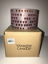 """YANKEE CANDLE""""DREAMING OF LOVE""""Barrel Jar Candle Shade WHITE/RED MULTI NEW Boxed"""