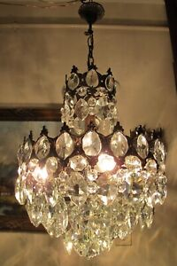 Antique Vintage French Basket Style Crystal Chandelier Luster Light 1940's.14 in