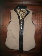 Bylyse by Lyse Spenard reversible faux fur, leather animal print vest size M