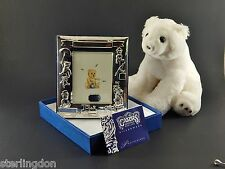 Vintage Carrs, England Sterling Silver Baby Birth Photo Christening Frame w/Box