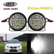 2PCS 18 LED Car DRL Driving Round Daytime Running Light Head FOG Lamp Bright New