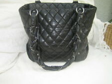 CHANEL BLACK QUILTED DISTRESSED LEATHER LADY BRAID TOTE BAG
