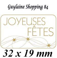 Lot 100 Etiquettes Stickers neuf bijoux cadeaux JOYEUSES FETES blanc or