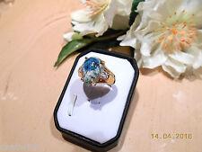 Juwelo Silberring K2 - Azurit Topas Ring 925 Sterling Silber Vergoldet   NEU