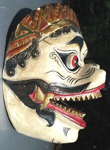 Indonesia Hanuman hand Carved  wood dance mask white Painted Art from java