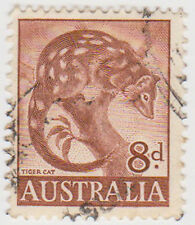 (W1386) 1959 AU 8d brown tiger cat (O)