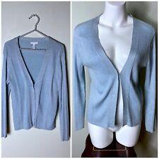 Charter Club Ice Blue Metallic Knit Ribbed V-Neck Cardigan Sweater Size Large
