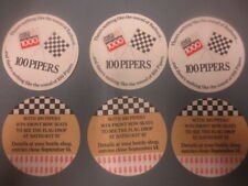 6 x 100 PIPERS Scotch Whisky / James Hardy 1000 1987 Australian Issue COASTERS