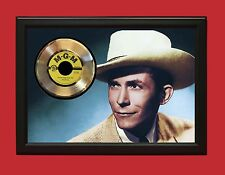 "HANK WILLIAMS SR POSTER ART WOOD FRAMED GOLD 45 DISPLAY FREE US SHIPPING ""C3"""
