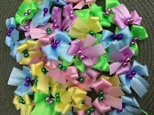 Dog Grooming Pet Bows.50 Spring/Easter Pastels, Double-Looped Ribbon, Ear, Usa
