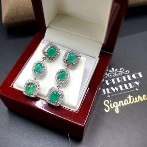 Colombian! 5.26TCW Emeralds Diamond 18K solid white gold Dangling Earrings drop