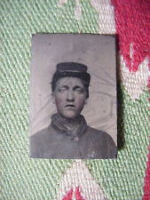 Antique  Mini TINTYPE PHOTO Civil War SOLDIER with KEPI Looks like Elvis