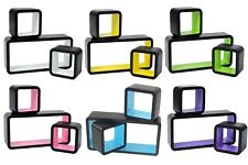 Floating Shelves  White Black Wall Mount Cube Storage Display Shelves Set Of 3