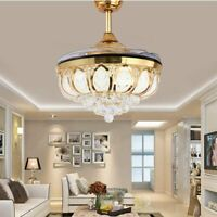 "42"" Chrome Remote Invisible Ceiling Fan Lamp Crystal LED Chandelier Light"