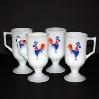 Mid-Century FEDERAL Milk Glass Red White & Blue Rooster Pedestal Coffee Mug Set