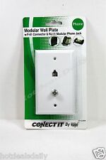 BELL PHONE ACCESSORIES WHITE MODULAR TELEPHONE AND VIDEO JACK WALL PLATE
