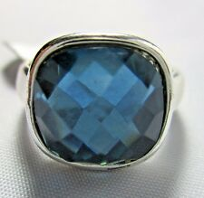 Ring Emerald Cut Teal Austrian Crystal Solitaire Pave Setting Size 6.5 NWT T34
