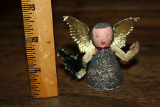 """Vintage 2.5"""" West Germany Angel Paper Wings Wooden body holding tree small"""