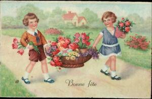 AK Kinder Blumenkorb, Künstler,  Kleinformat