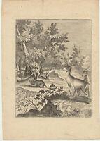 ORPHEUS Lyra Gesang Original Kupferstich um 1780 MUSIK Tiere BÄUME neigen sich