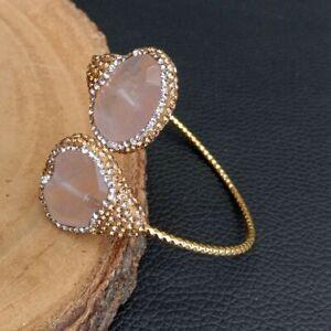Natural Rose Quartz Cz pave Gold plated Bangle Bracelet