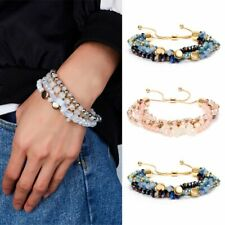 Boho Multilayer Crystal Beaded Bracelet Fashion Women Wristband Chain Jewelry
