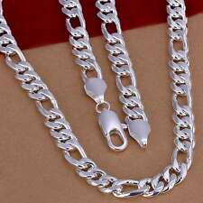 New 925Sterling Solid Silver Men Jewelry 10MM 3+1 Chains Necklace 24inch N013