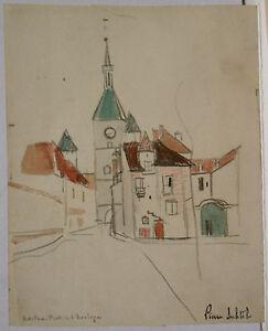 "Painting Antique Watercolour Stone Subtle "" Avallon Port Of THE CLOCK "" Ps 66"