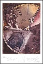 Naidenov Hristo 2011 Exlibris C3 Tempus Fugit Erotic Nude Woman Clock Uhr 94